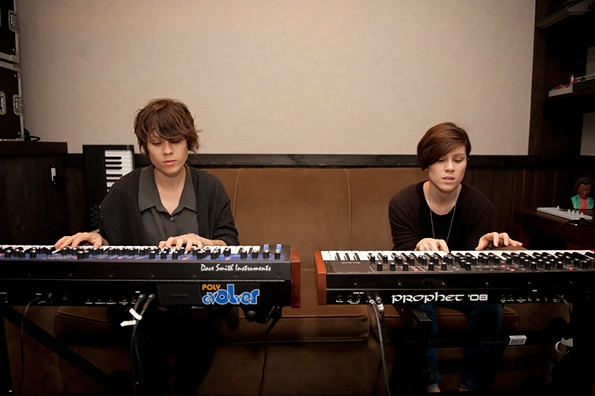 Tegan and Sara in the studio with Justin Meldal-Johnsen May 2012, photo by Lindsey Byrnes