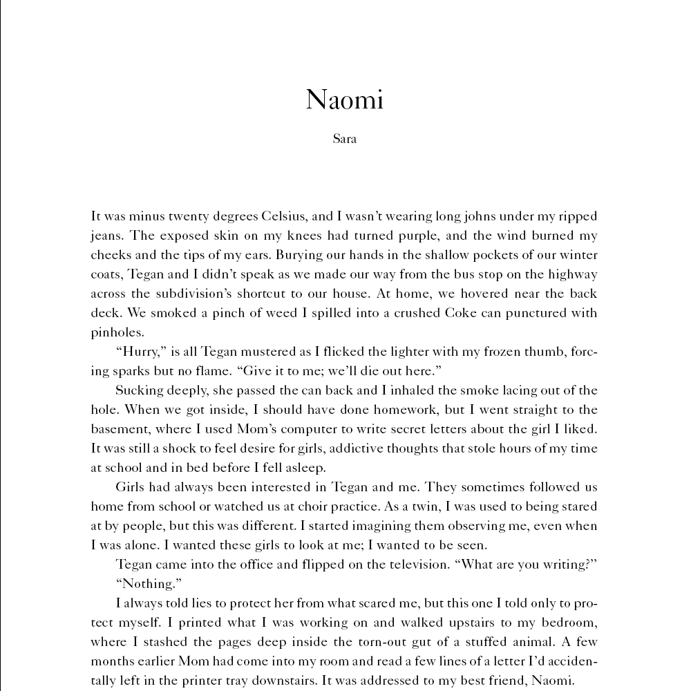 """Book excerpt of a chapter titled """"Naomi"""" from Tegan and Sara's """"High School"""" memoir."""