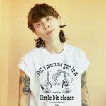 """Tegan wearing the """"All i wanna get is a little bit closer"""" shirt design"""